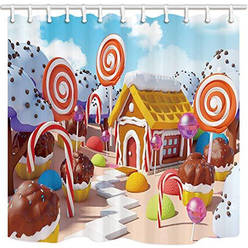 GoEoo Kids Bath Curtains for Bathroom Candy Landscape with Gingerbread House in Sweet ForestResistant Fabric Shower Curtain Shower Curtains Hooks Included 69X70in