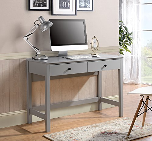 Home Star Writing Desk - HOMESTAR Othello Writing Desk with Single Drawer in Gray Finish