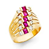 14k Yellow Gold Semanario Ring Fashion Band CZ Five Day Stackable Look Red CZ Style Fancy Size 6