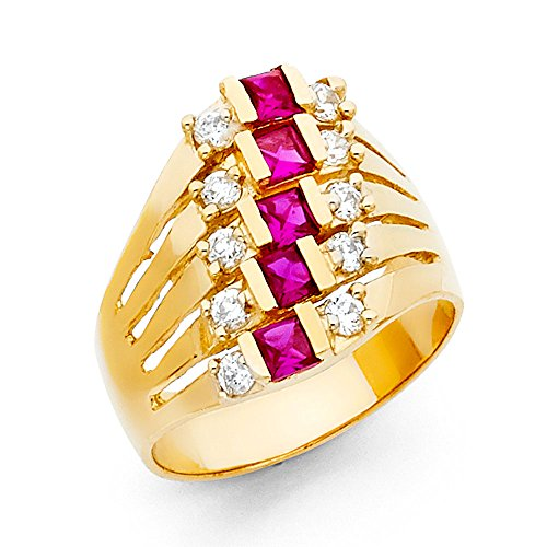 14k Yellow Gold Semanario Ring Fashion Band CZ Five Day Stackable Look Red CZ Style Fancy Size 6 by ZenJewels