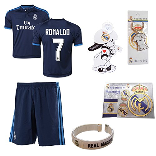 [iSport Gifts® Real Madrid Blue Ronaldo #7 Kids Soccer Jersey and Soccer Shorts 6 IN 1 SOCCER FAN GIFT KIT Youth Sizes YS / YM / YL (Youth Medium 8-10 Years Old, Ronaldo #7)] (Real Football Kit)