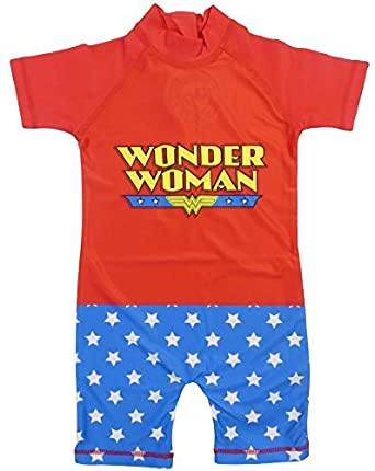 Girls Wonder Woman Dc Comics Super Hero Sun Safe Surf Suit Swim Wear