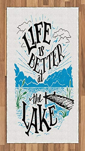 (Lunarable Adirondack Area Rug, Lakeside Cabin Themed Life is Better at The Lake Quote, Flat Woven Accent Rug for Living Room Bedroom Dining Room, 2.6 x 5 FT, Dark Taupe Jade Green Azure Blue )
