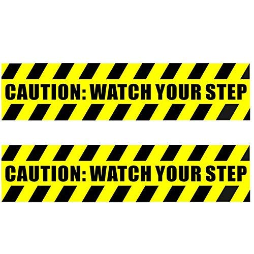 "eSplanade (2 Pack 13.78"" X 3.15"" Caution Watch Your Step Warning Sign Sticker Decal - Back Self Adhesive Vinyl"