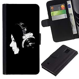 ZONECELL Imagen Frontal Negro Cuero Tarjeta Ranura Trasera Funda Carcasa Diseño Tapa Cover Skin Protectora Case Para Samsung Galaxy Note 4 SM-N910 - música muchacha de la música minimalista