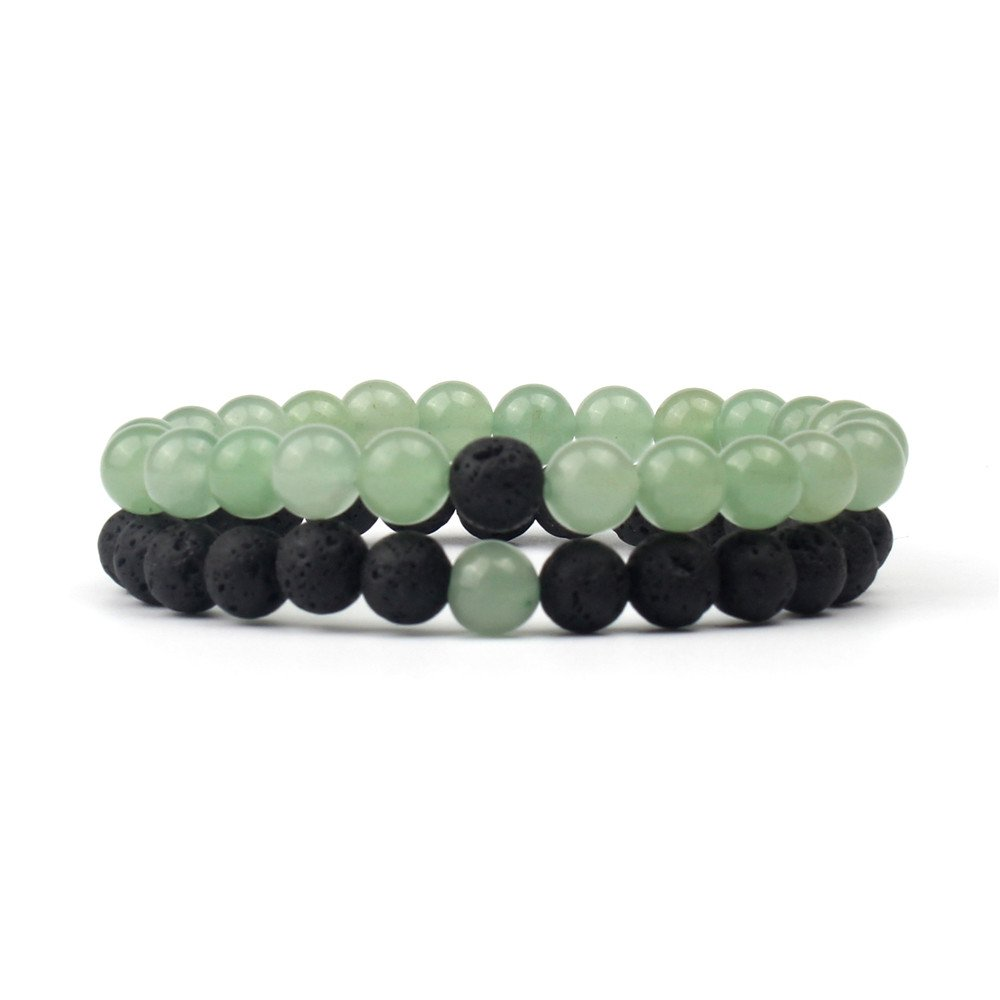 SHINUS Couple Mala Beads Chakra Bracelets Mens Womens Handmade Genuine Natural Stone Bohemia Love Gifts