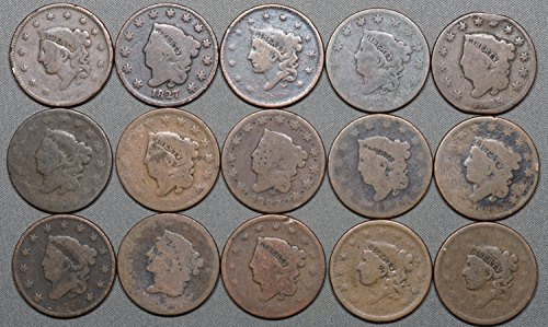 1816-39 Coronet Head Large Cent, 15 Coins, Cull