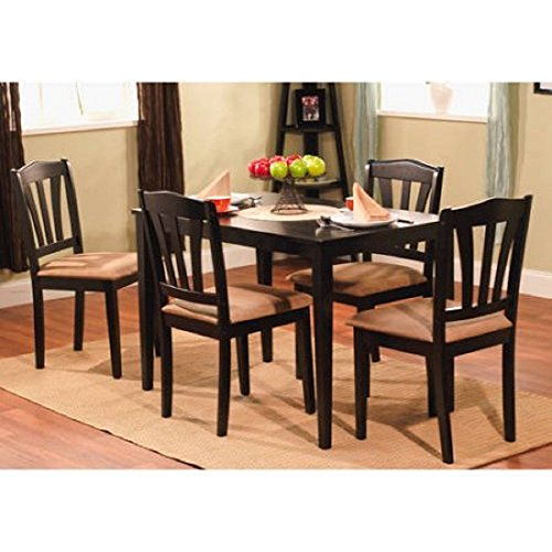 "MPN 5-Piece Dining Set, Multiple Colors, Black, Classic yet modern design, Material Rubberwood Micro fiber Fabric, Table dimensions 28""L x 45""W x 29""H, Chair dimensions 16.5""L x 17.32""W x 35.5""H."