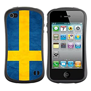 Shell-Star ( National Flag Series-Sweden ) Hybrid Heavy Duty Shockproof iFace Fundas Cover Cubre Case para Apple iPhone 4 / 4S