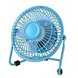 Water & Wood Home Office Cooling Cool Metal Shell Plastic Blades Desk USB Mini Fan 4'' Sky Blue