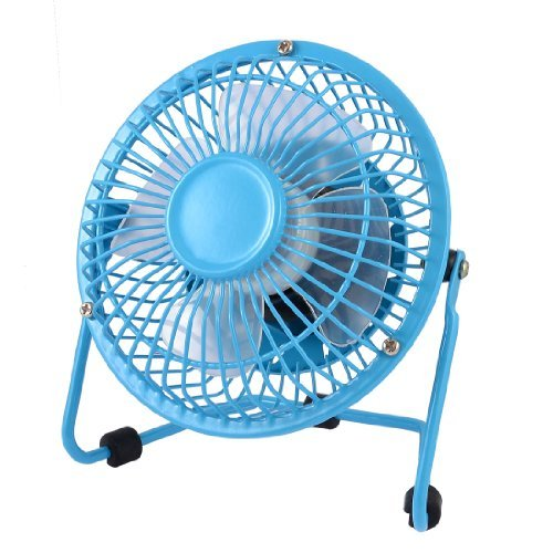 Water & Wood Home Office Cooling Cool Metal Shell Plastic Blades Desk USB Mini Fan 4'' Sky Blue