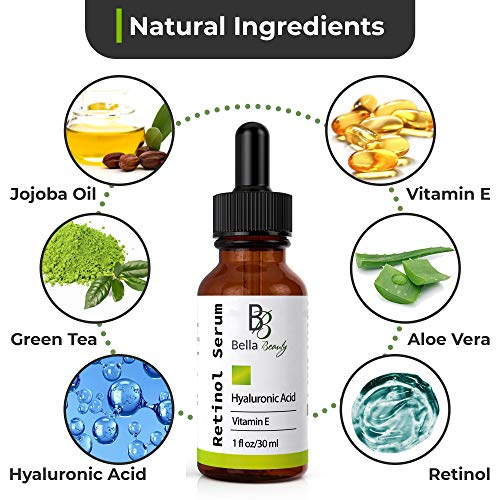 51y5AmS2ICL - Anti Aging Hyaluronic Acid and Retinol Serum 2.5% for Face with Vitamin E For Oily Acne Skin - Best Retinol Facial Moisturizer - Reduce Fine Lines - Wrinkle - Dark Spots - Pure Organic Ingredients