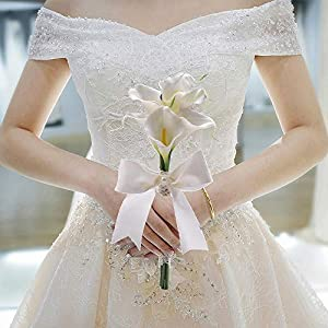 Moleya 6 Inch Vintage PE Artificial Calla Lily Handmade Wedding Flower Bouquets Bridal Bridesmaid Holding Throw Bouquets with Rhinestones and Ribbon, White 2