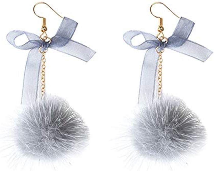 FUNSS Pom Pom Ball Plush Dangle Earrings for Women Bow Long Pendant Earrings Jewelry Accessories,gray