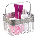 mDesign Decorative Bathroom Spa Metal Storage Organizer Baskets Caddy Totes for Shower Shampoo, Conditioner, Lotion, Towels and More - Metallic
