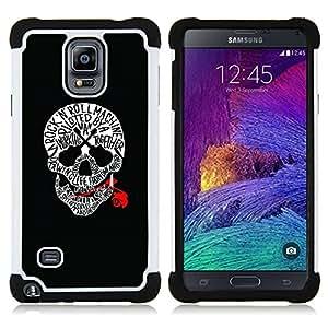 BullDog Case - FOR/Samsung Galaxy Note 4 SM-N910 N910 / - / SKULL MUSIC ROSE ROCK ROLL GUITAR BLACK /- H??brido Heavy Duty caja del tel??fono protector din??mico - silicona suave