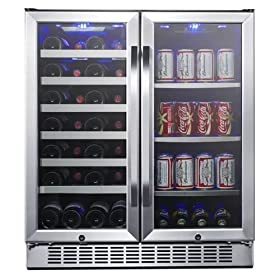 EdgeStar 30-Inch Built-In Wine and Beverage Cooler with French Doors