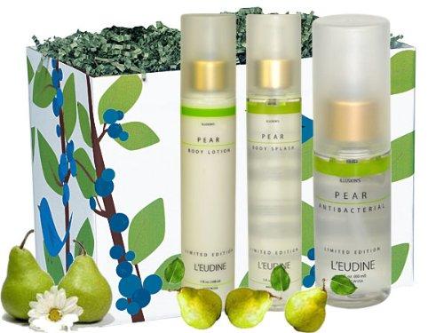 L'eudine 4-piece Pear Scent Body Gift Set for Women:Forest Bird Gift Box, Pear Body Lotion, 5 fl oz, Pear Body Mist, 5 fl oz & Pear Antibacterial Hand Gel, 1.7 fl oz