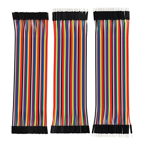 eBoot 120 Pieces Breadboard Jumper Wires Ribbon Cables Kit Wire 40 Pin M/ M, 40 Pin M/ F, 40 Pin F/ F Multicolored for Arduino
