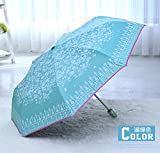 Sky Blue Automatic Parasol Ultraviolet-Proof Sun Umbrella Cute Womens Rain Umbrella