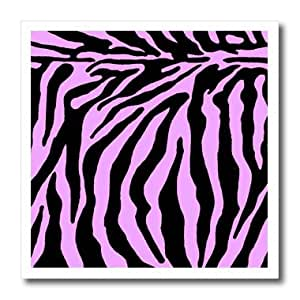 ht_25733_1 Patricia Sanders Creations - Pink and Black Zebra Print II - Iron on Heat Transfers - 8x8 Iron on Heat Transfer for White Material