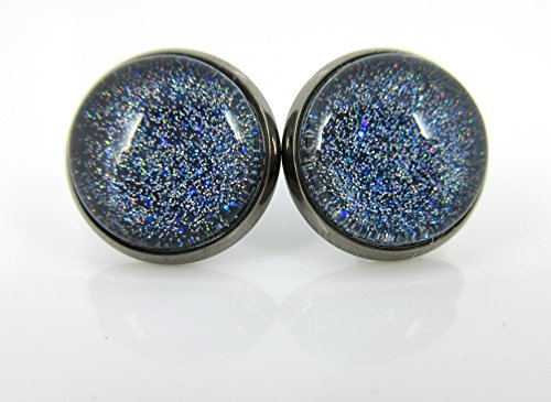 Hematite-tone Blue Holographic Glitter Glass Galaxy Stud Earrings Hand-painted 12mm