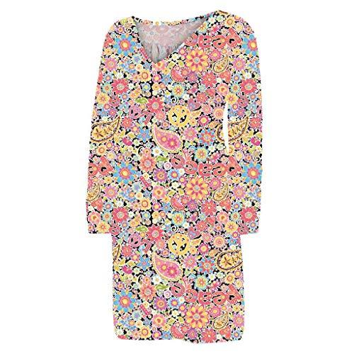 - Women Dresses Casual Sexy Deep V Neck Plus Size Boho Floral Print Long Sleeve Mini Dress (XXL, Yellow)