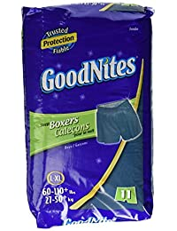 Goodnites Boxers Style Sleep Shorts for Boys, Size : Large to Extra Large, Jumbo Fits to 60 to 110 Lbs - 11 / Pack, 4 Packs BOBEBE Online Baby Store From New York to Miami and Los Angeles