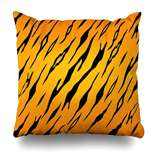 (Pakaku Decorative Pillows Case Throw Pillows Covers for Couch Indoor Bed 18 x 18 Inch, Background of Tiger Animal Print Home Sofa Cushion Cover Pillowcase Gift Bed Car Living Home)