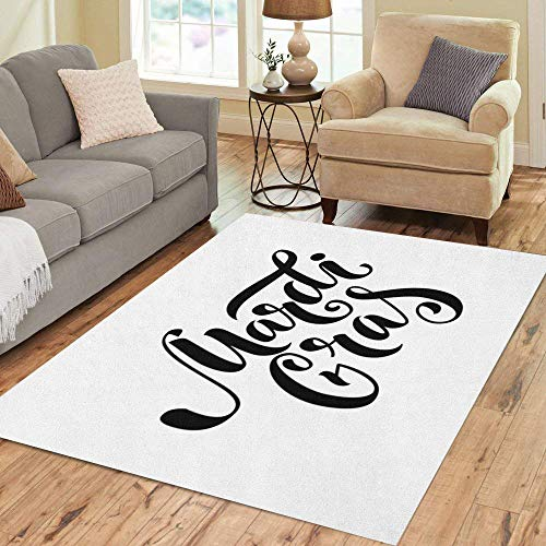 (Semtomn Area Rug 2' X 3' Announcement Mardi Gras Text Black Bold Carnaval Carnival Celebrate Home Decor Collection Floor Rugs Carpet for Living Room Bedroom Dining Room)