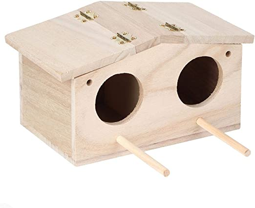 Caja de pájaros para Mascotas, platane Nidos de pájaros de Madera para Mascotas Puerta de cría de Dos Orificios Caja de cría Jaula Accesorios de pajarera para Loros Golondrinas: Amazon.es: Jardín