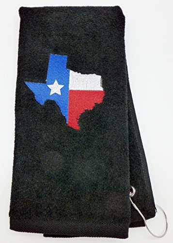 Mana Trading Custom Personalized Embroidered Golf Towel TEXAS (Navy Blue)