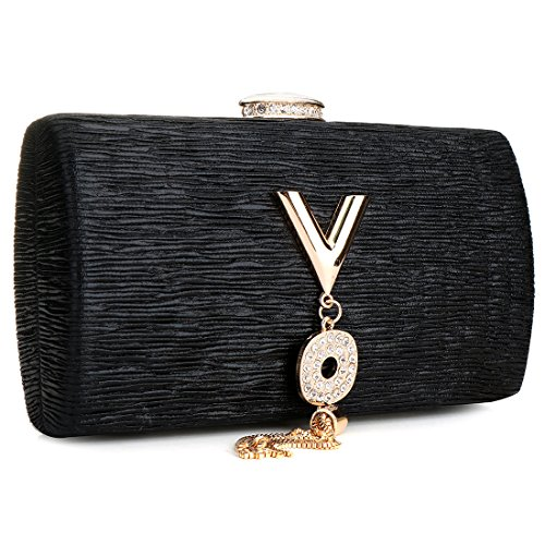 Clutch with Women Handbags Bag Crossbody Black rhinestone Evening Purse wCUCq1