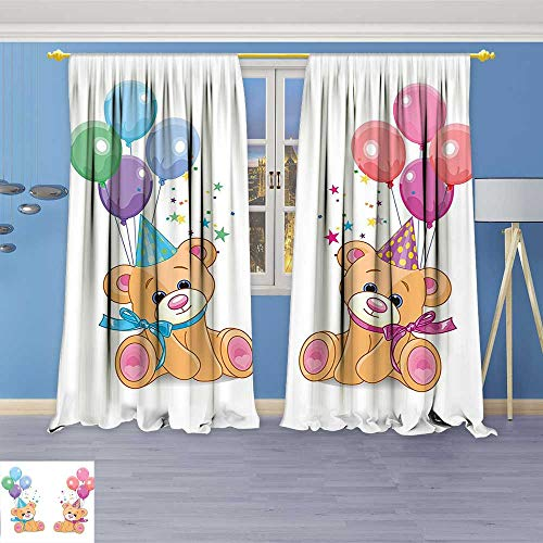 Philiphome Grommet Thermal Insulated Curtains,Teddy Bears Sitting with Party Baloons Celebration Kids Toys Funny Design Multicolor Room Darkening Blackout Curtains Window Panels -