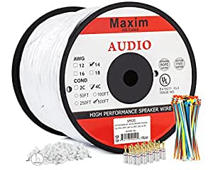 Amazon.com: In Wall Speaker Wire | 500 Feet | 14AWG CL3 Rated 4 ...