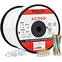 In Wall Speaker Wire | 500 Feet | 14AWG CL3 Rated 4-Conductor Wire White Oxygen Free Copper includes banana plugs cable clips and ties