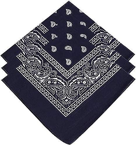 Paisley Bandanas Pack Of 3 Paisley Cotton Paisley Print Neck Scarf HeadBand Face Cover Wrist Scarf 100/% Cotton Unisex Bandana