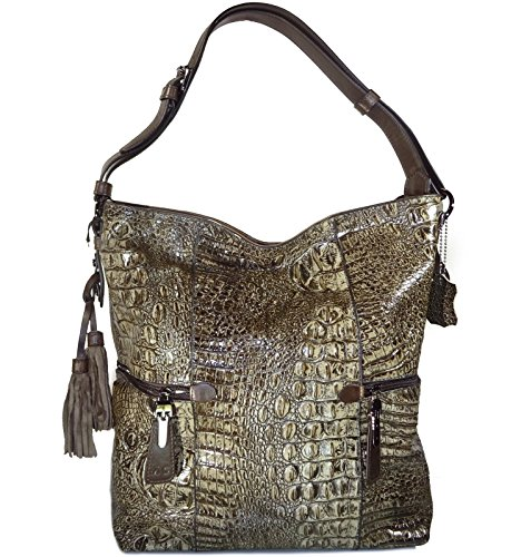 M.C. Handbags Croc Embossed Genuine Leather Hobo Tote w/3-Compartments- Grays