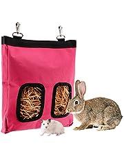 LUTER 28x23x2cm Bolsa de alimentación de heno de Conejillo de Indias Bolsa de heno de Conejo Saco alimentador Colgante, Mascotas pequeñas Que comen heno (Roze)