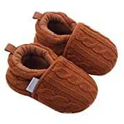LNGRY Infant Baby Girl Boy Toddler Shoes Sneaker Anti-slip Soft Sole Home Shoes (0-6 Months, Coffee)