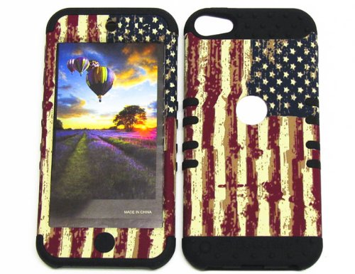 APPLE IPOD ITOUCH 5 CASE PATRIOTIC AMERICAN HEAVY DUTY HIGH IMPACT HYBRID COVER BLACK SKIN SILICON COVER