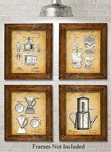 Original Coffee Patent Art Prints - Set of Four Photos (8x10) Unframed - Great Gift for the Coffee Lover or Kitchen Decor (Gift Sets Starbucks Uk)