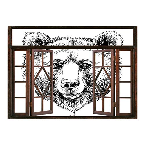 (SCOCICI Window Mural Wall Sticker/Animal,Hand Sketch Grizzly Bear Wildlife Mammal Ink Drawing Figure Nature Theme Artwork,Black White/Wall Sticker Mural)
