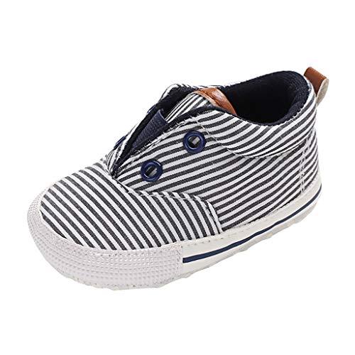 IEasⓄn_Baby Shoes ,Canvas Shoe for Infant Newborn Summer Toddler Baby Boys Girl Stripe Prewalker Soft Sole Shoes Black