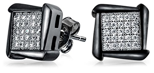 Square Shaped Cubic Zirconia Micro Pave Stud Earrings For Mens Women Black Silver Plated 925 Sterling Silver 8MM
