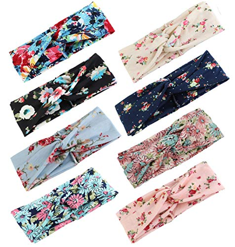 (LOLIAS 8-12 Pack Crochet Turban Headband Winter Soft Knitted Hairband Braided Ear Warmer Boho Headwraps for Women Girls)