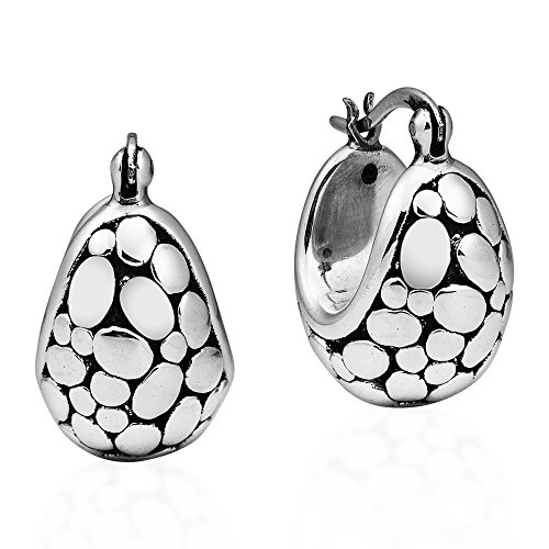 (Modern Chubby Oval Stone .925 Sterling Silver Basket Hoop Earrings)