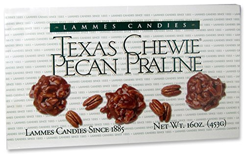 Lammes Candies Texas Chewie Pecan Praline 16oz Caramel Pecans Pralines Boxes Individually Wrapped Chewies -