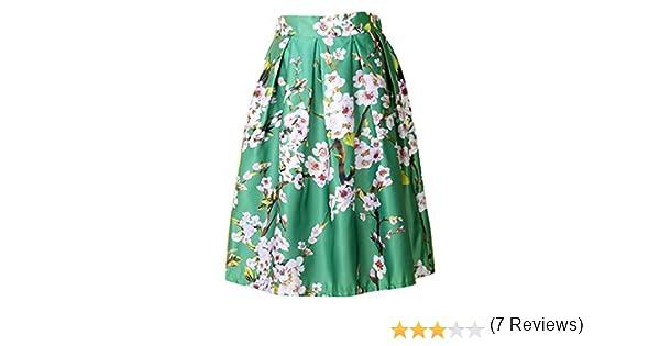 Aivtalk Moda Falda Plisada de Estampado de Sakura en Verde para ...