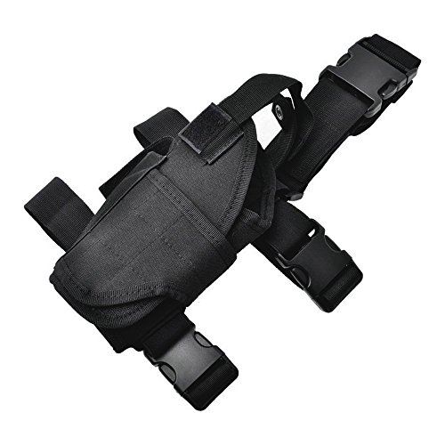 Black Airsoft Gun Holster (aokur Adjustable Tactical Left Handed Hunting Airsoft Pistol Gun Pouch Drop Leg Thigh Holster (Black))
